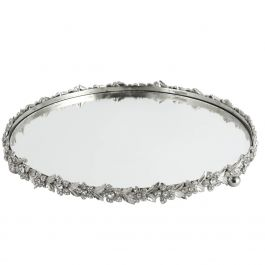 Mirror Tray With Flower Trim Candle Tray Large