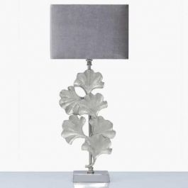Gingko Leaf Table Lamp With Grey Velvet Shade