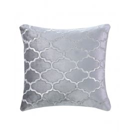 Marrakech Patterned Grey Velvet Cushion 50X50