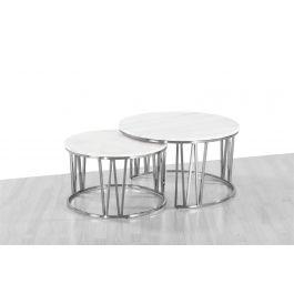 Mila White Marble Coffee Table Set