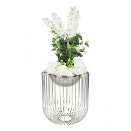 Round Silver Caged Vase Large