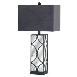 Mirrored Black Table Lamp
