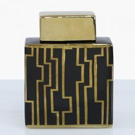 Pattern Square Black & Gold Jar Medium