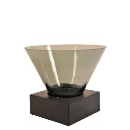 Smoked Glass Vase With Square Wooden Base