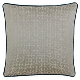 Belsize Taupe and Teal Cushion