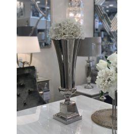 Flute Vase Square Base - Silver