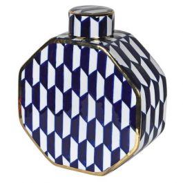 Medium Blue/White Lidded Jar