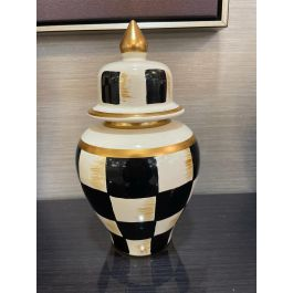 Gold & Black Chequered Jar Small