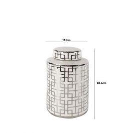 Medium White & Silver Ginger Jar