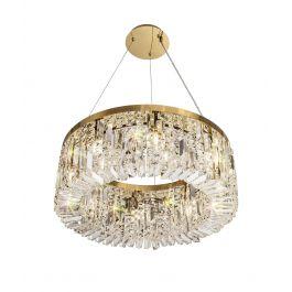 Zula Round Pendant Chandelier 8 Light Gold/Crystal