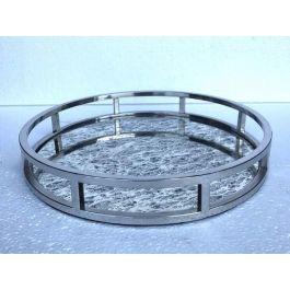 Round Antique Mirror Tray Large