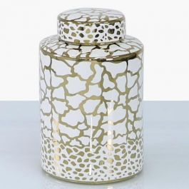 Animal White & Gold Jar Medium