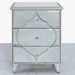 Medina Silver 3 Drawer Bedside