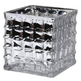 Silver Square Glass Vase Medium