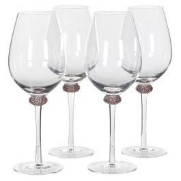 S/4 Pink Gold Diamante R/wine Glasses