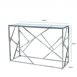 Azaria Stainless Steel Metal Console Table