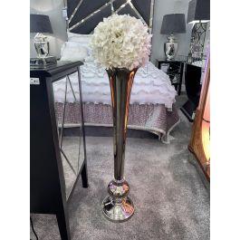Flute Vase Round Base Silver Large