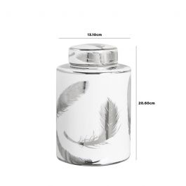 Feather White & Silver Jar Medium