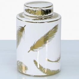 Feather White & Gold Jar Medium