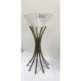 Spire Vase With  Glass Top Silver
