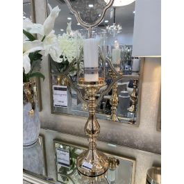 Glass Top Candle Holder Gold Medium