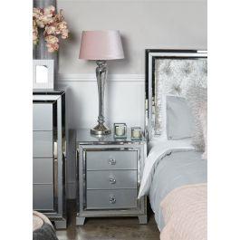The Atlantis Grey 3 Drawer Bedside Cabinet