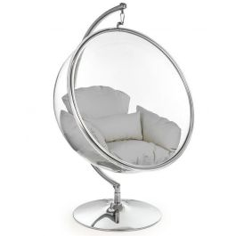 Hanging Bubble Chair On Steel Base With Grey Cushion