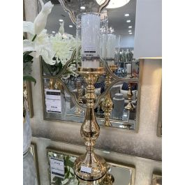 Glass Top Candle Holder Gold Large