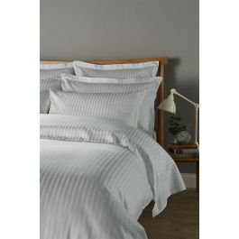 300TC Sateen Stripe Platinum King Duvet Cover