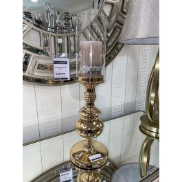 Gold Table Top Candle Holder With Clear Glass Top Medium