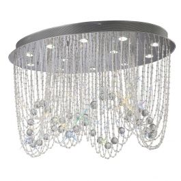 The Milana Ceiling Oval 12 Light Chrome Crystal