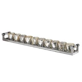 Silver Votive Holders On Tray