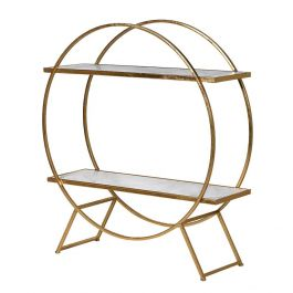 Round Gold and Marble Shelf Unit
