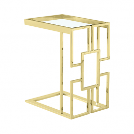 Geo Chrome Gold Metal Frame with Clear Glass Top Sofa Table