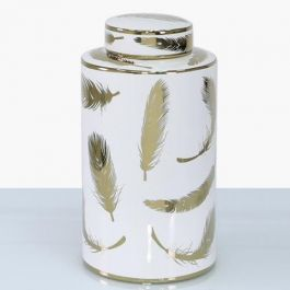Feather White & Gold Jar Large