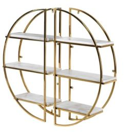 Set of 2 Gold Marble Shelves