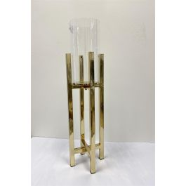 Gold Cross Stand Candle Holder With Glass Top Large