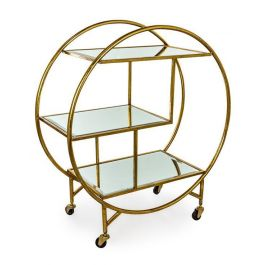 Gold Trolley With Mirror Shelves