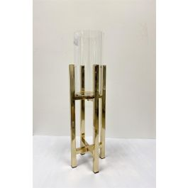 Gold Cross Stand Candle Holder With Glass Top Medium