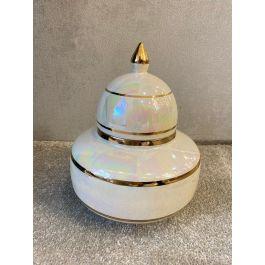Cream & Gold Dome Jar Medium