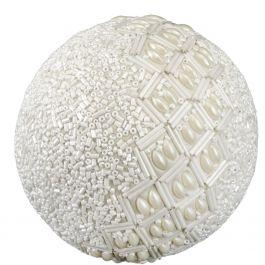 Beaded White Ornament Ball