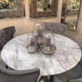 Oxford Round Grey Marble Top 130cm Dining Table