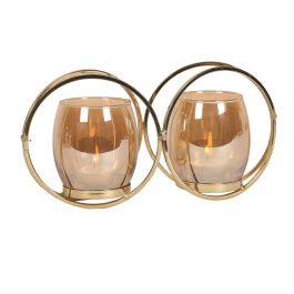 Circular Gold 2 Tealight Holder 25x12cm