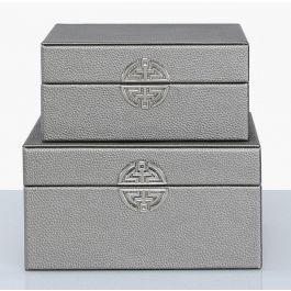 Pewter Jewellery Boxes Set Of 2