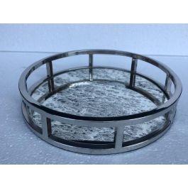 Round Antique Mirror Tray Medium