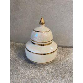 Cream & Gold Dome Jar Small