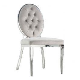 CLARA - Button Round Chair - Silver