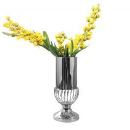 Glass Bottom Chrome Vase - Medium