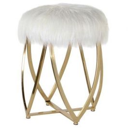 White Faux Fur Gold Stool