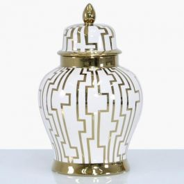 Pattern White & Gold Jar Large